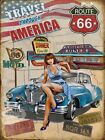 ROUTE 66 TRAVEL THROUGH USA VINATGE STYLE METAL SIGN 3 SIZES TO CHOOSE FROM