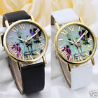 UK Fashion Women Watches Vases Dial Leather Band Quartz Analog Wrist Watch Cheap image