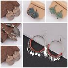 Vintage Women's  Bohemia Leaf Hollow Geometric Moon Square Round Drop Earrings