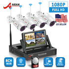 "1080P 4CH Wireless Security Camera System WIFI NVR 7""Monitor Surveillance 1TB HD"