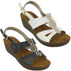 Inblu Slingback Wedge Sandals Jewel Open Toe Padded Leather Insock UK 2.5-8