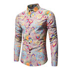 Men Hawaii Holiday Summer Beach Shirt Top Suit Sets Long Slv Chemise Рубашка