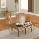Best Quality Furniture Glass Top 3-Piece Coffee and End Table Set