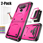 Hybrid Shockproof Armor Case Protective Cover+Tempered Glass Screen For LG Phone