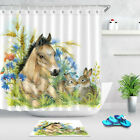 Animal Shower Curtain Hooks Bunny & Horse In Flower Print For Bathroom 72 Inches