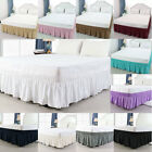 Bed Skirt Polyester Wrap Around Dust Ruffle 15 Inch Drop Elastic Bedding Bed image