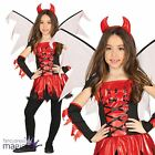 Child Girls Fire Devil Demon Horror Halloween Fancy Dress Costume Wings & Horns