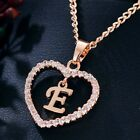 Charm 26 Letters Alphabet A-Z Rose Gold Crystal Heart Pendant Necklace Jewelry