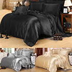 Silk Satin Blend Duvet Cover Pillowcase Flat Sheet Bedding Set Full Queen Size image