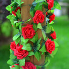 2 x 8Ft Artificial Rose Vine Flowers Hanging Ivy Home Wedding Party Art Décor US