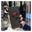 For iPhone 7 8 Plus X s Bling Black Glitter Cute Phone Case Protective Covers
