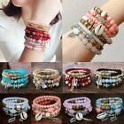 4Pcs I Love You Multilayer Natural Stone Crystal Bangle Beaded Bracelet Jewelry image