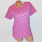 Basic Editions Womens Tunic Knit Top Pink White Geo Short Sleeve