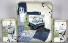 3 / 1 pc - SUZIE Quilted BEDSPREAD & SHAMS - Scalloped Edge Ivory Blue Floral