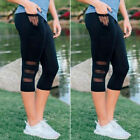 Sexy Women Yoga Capri Pants Running Cropped Mesh Splice Leggings Sports Trousers