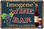 Imogene's Green Wine Bar Wall Décor Kitchen Gift Sign Metal 112180043786