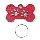 Pet ID Tag 30mm Bone TAGS, Reflective Glitter Dog Paw Design, Engraved Optional