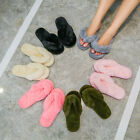 Ladies Womens Flip Flop Slippers Memory Foam Indoor Faux Fur Thong House Shoes