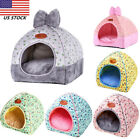 Small Pet Cat Dog Warm Bed Tent Triangle Foldable Cave House Print Bow Kennel US