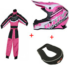 New Wulfsport Kids Motocross Black Helmet Pink Suit and Neck Roll Bundle Youth