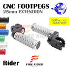 CNC 25mm Extension Front Footpegs POLE For Yamaha FZ400 97-00 97 98 99 00