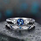 Fashion 925 Silver  Round Cut Sapphire Women Wedding Ring Jewelry Size 6-10