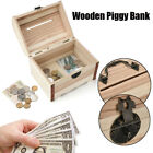 Wooden Piggy Bank Safe Money Box Savings With Lock Wood Carving Handmade Gift G1