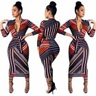 Women's 3/4 Sleeve Zipper Irregular Stripe Print Belted Bodycon Dress Casual