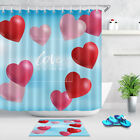 Bathroom Polyester Fabric Shower Curtain Set Love Is In The Air Heart Valentines