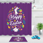 Easter Rabbit Eggs Kids Child Bathroom Polyester Fabric Shower Curtain Set 72ins