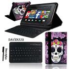 """LEATHER STAND COVER CASE + Bluetooth Keyboard For Amazon Kindle Fire 7"""" 8"""" Tab"""