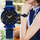 New Women Quartz Stainless Steel Band Mesh Magnet Buckle Starry Sky Analog Watch image