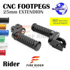 CNC 25mm Extension Front Footpegs POLE For Yamaha FZ8 /S Fazer 10-16 10 11 12 13