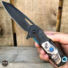 "8"" Military Tactical Spring Assisted Hunting SKULL Folding Open Pocket Knife NEW"