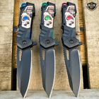 """8"""" Military Tactical Spring Assisted Hunting Skull Folding Open Pocket Knife New"""