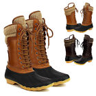 Women's Waterproof Rubber Warm Hiking Snow Rain Winter Lace Up Duck Boots
