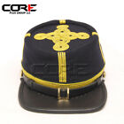 Civil War Union Navy blue Generals leather peak Gold Braid kepi with Green Band