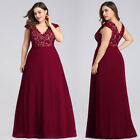 Ever-Pretty Plus Size Formal Burgundy Prom Gown Cocktail Evening Dress Long Maxi