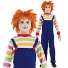 Kids Childs Evil Doll Chucky Movie Book Week Fancy Dress Outfit Play + Wig
