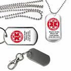 Personalized Medical Alert Type 2 Diabetic on Dog Tag Key Chain or Necklace