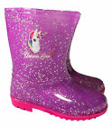 Childrens Unicorn Love Rainbow Wellies - Glitter Wellington Boots Girls Kids