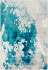 Contemporary Transitional Abstract Aqua Teal Blue Area Rug **FREE SHIPPING**