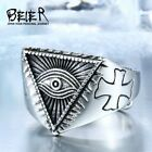 Ring For Men AllSeeing Eye Viking Wolf Amulet Hammer Thor Celtic Stainless Steel