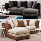'3 Seater Jumbo Cord Fabric Corner Sofa Left Or Right With Pillow Settee Couch Uk