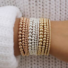 14k Gold Plated Beads Beaded Stackable Bracelets Women Bohemian 4mm 5mm 6mm 8mm image