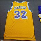 Los Angeles Lakers #32 Earvin Johnson Retro Man Basketball Jersey Yellow purple