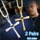 2Pcs Cross Pendant Necklace Stainless Steel Unisex's Chain Crucifix Men Women US image