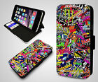 Skate Stickerbomb Collage JDM New Racing VW Vans Wallet Leather Phone Case Cover