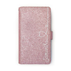 Personalised Initial Pink Glitter Phone Case PU Leather Cover For Samsung