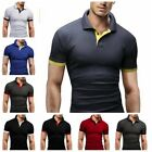 US Men's V-Neck Slim Fit T-shirts Casual polo shirt Short Sleeve Outfit Top Tee image